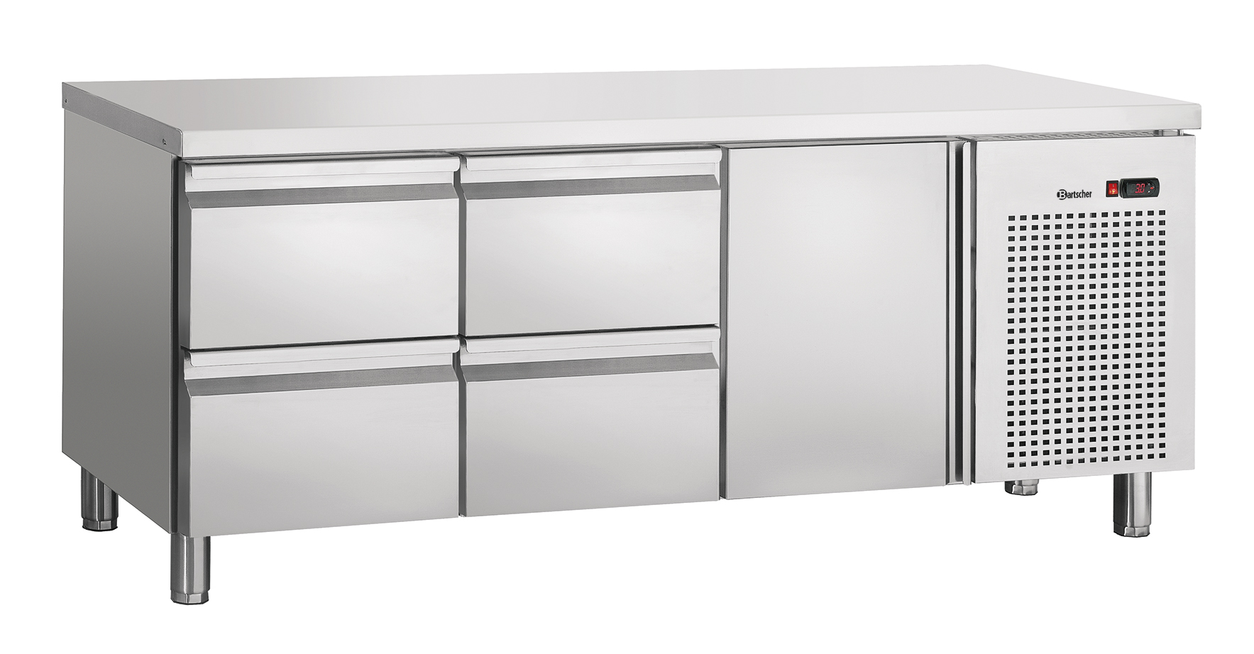 Bartscher Koeltafel S4T1-150 - 1 Deur / 4 Lades - 179 x 70 x 85 cm - RVS