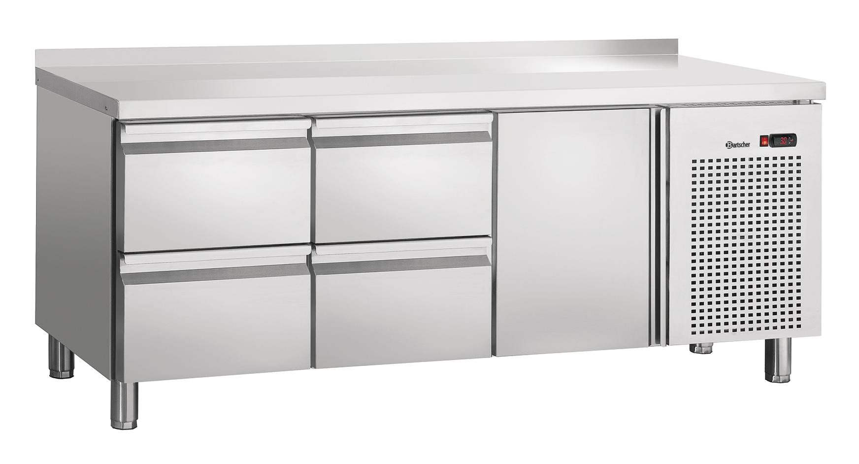 Bartscher Koeltafel S4T1-150 MA - 1 Deur / 4 Lades, Spatrand - 179 x 70 x 85 cm - RVS