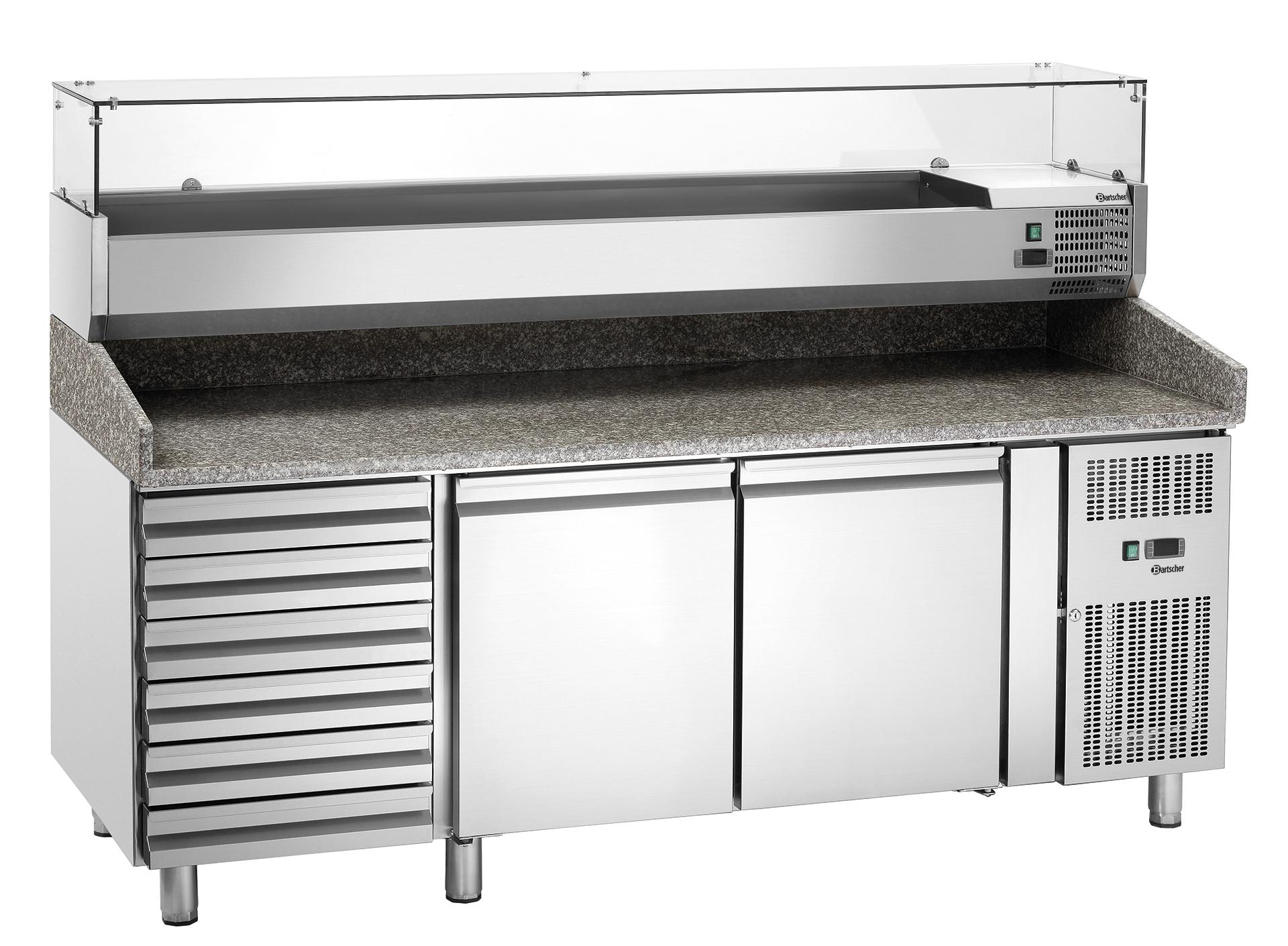 Bartscher Pizza-koelwerkbank GL26640 - 2 Deurs / 6 Lades - RVS