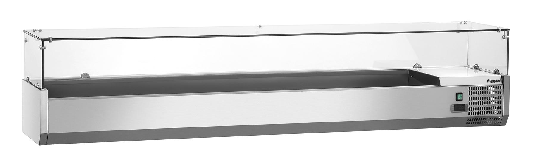 Bartscher Koelopzetvitrine GL 9x 1/3GN - 202,5 cm - RVS